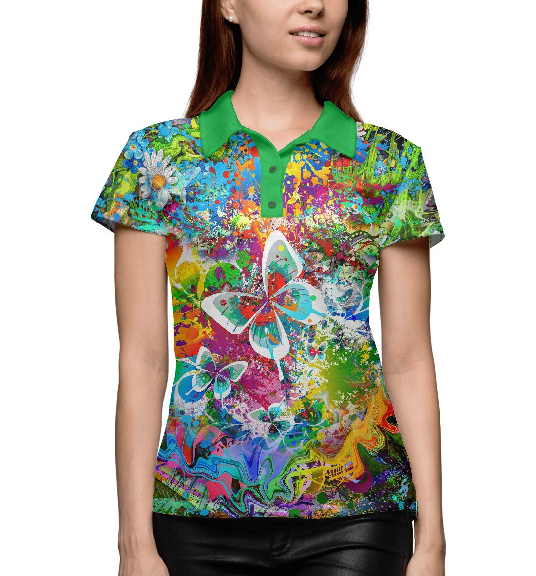 Купить Полевые цветы и бабочки, Printbar, Поло, DLR-447929-pol-1