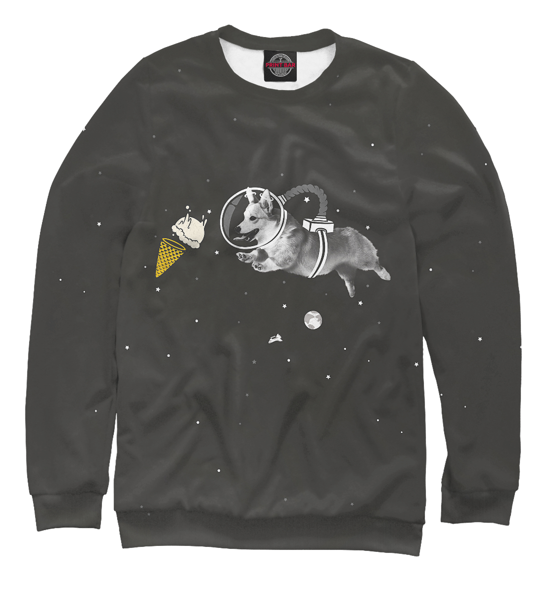 Купить Space Welsh Corgi, Printbar, Свитшоты, DOG-452528-swi-2