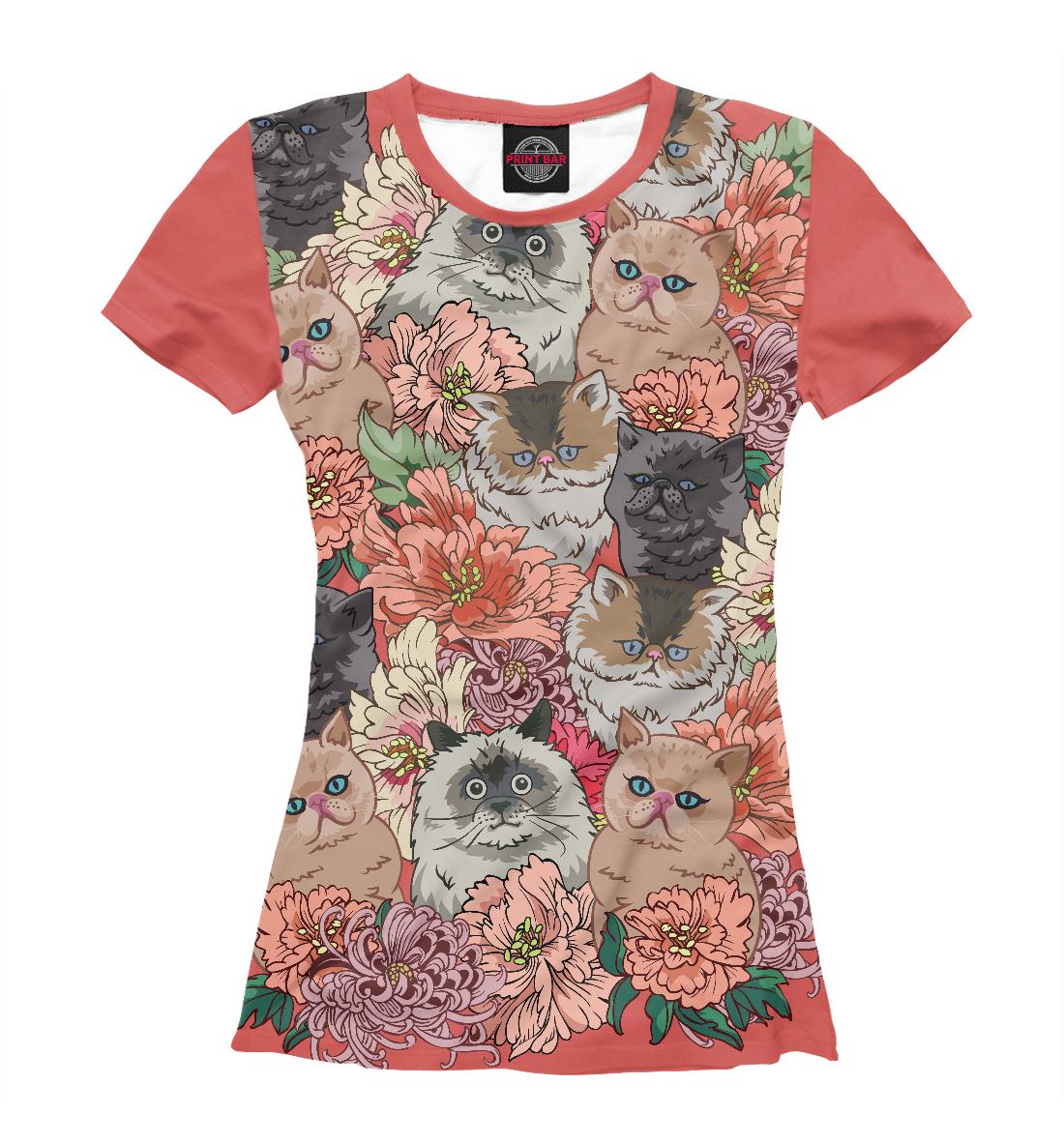 Купить Коты в цветах, Printbar, Футболки, CAT-759368-fut-1