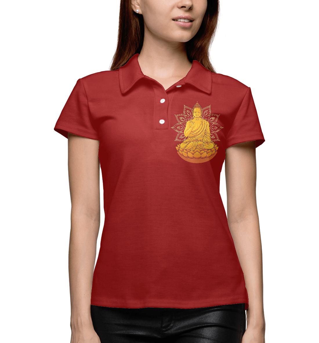 Купить Золотой Будда на лотосе с мандалой, Printbar, Поло, PSY-619583-pol-1