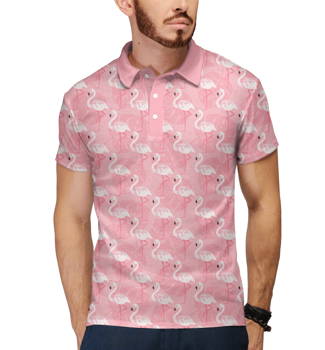 Купить Розовый Фламинго, Printbar, Поло, PTI-396884-pol-2