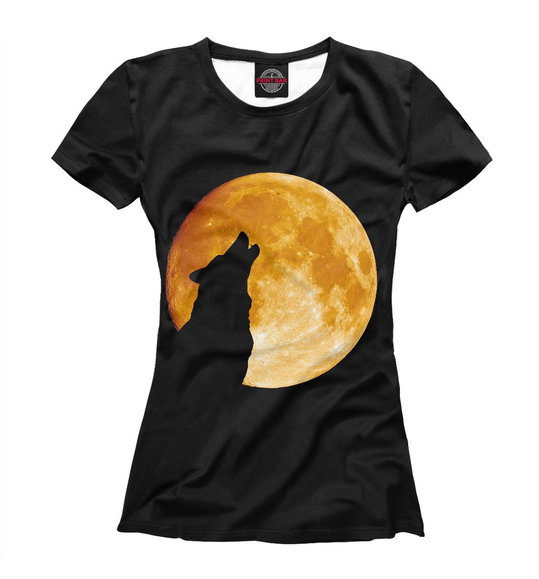 Купить Волк воет на луну, Printbar, Футболки, VLF-129501-fut-1