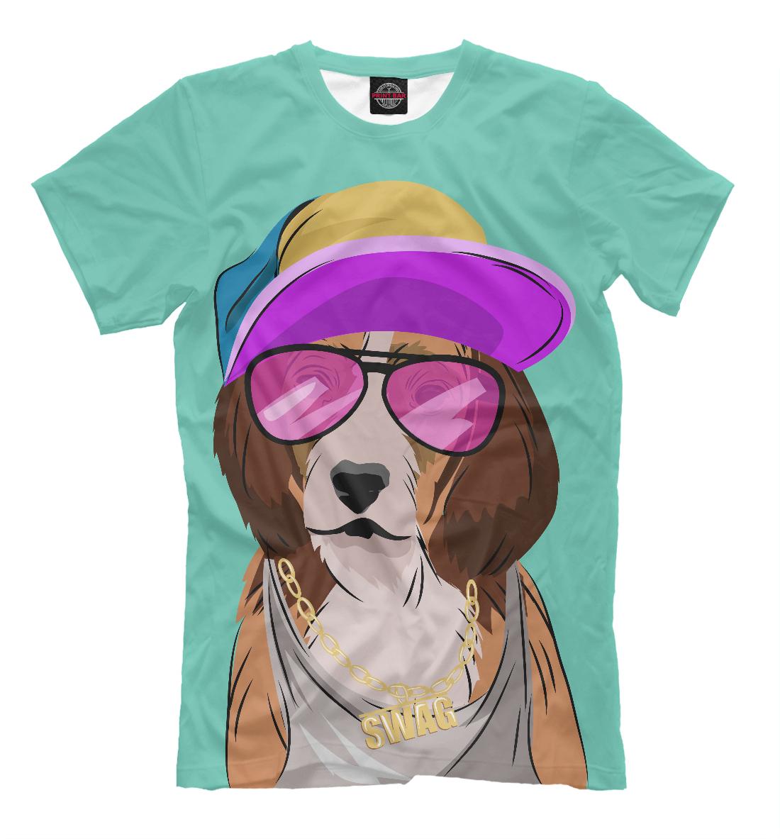 Купить Собака, одетая в стиле хип-хоп, Printbar, Футболки, HIP-599382-fut-2