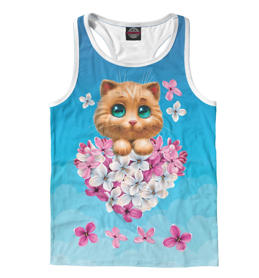 Котенок и сердечко из цветов, Printbar, Майки борцовки, CAT-225513-mayb-2  - купить со скидкой