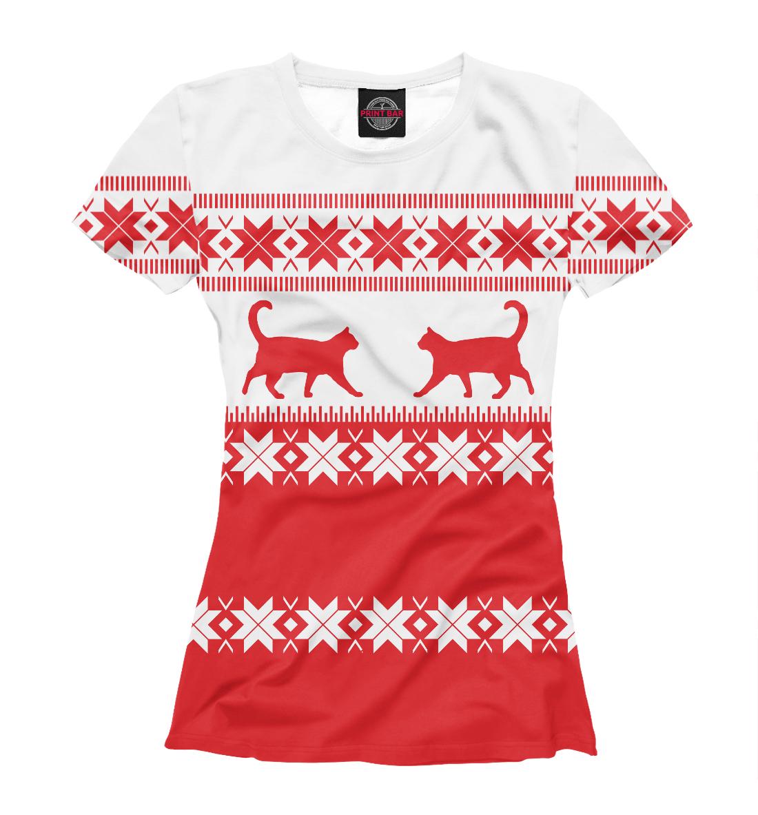 Купить Зимний свитер с котами, Printbar, Футболки, CAT-395386-fut-1