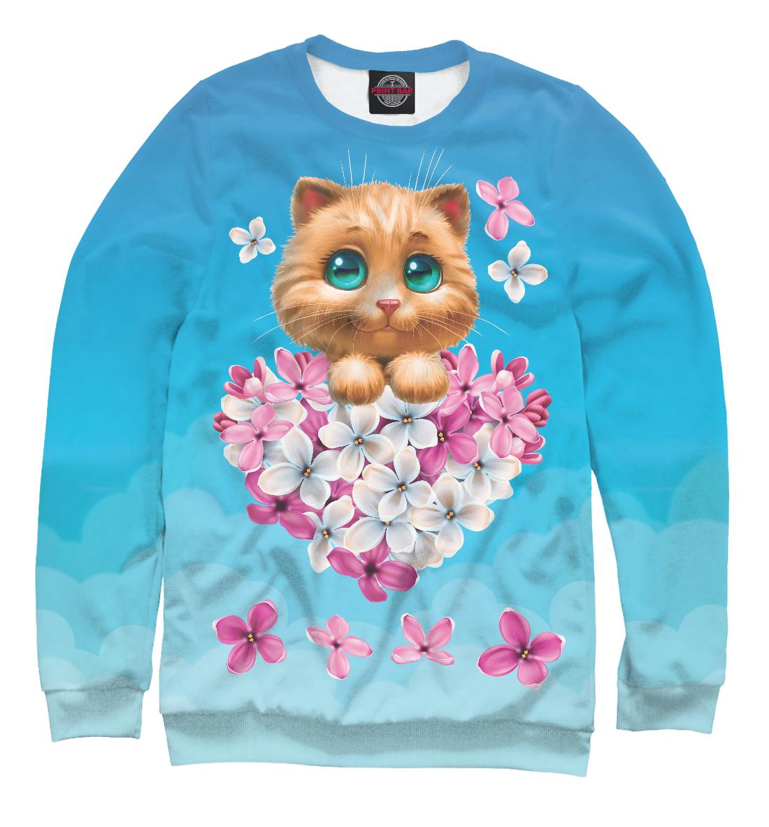 Котенок и сердечко из цветов, Printbar, Свитшоты, CAT-225513-swi-2  - купить со скидкой