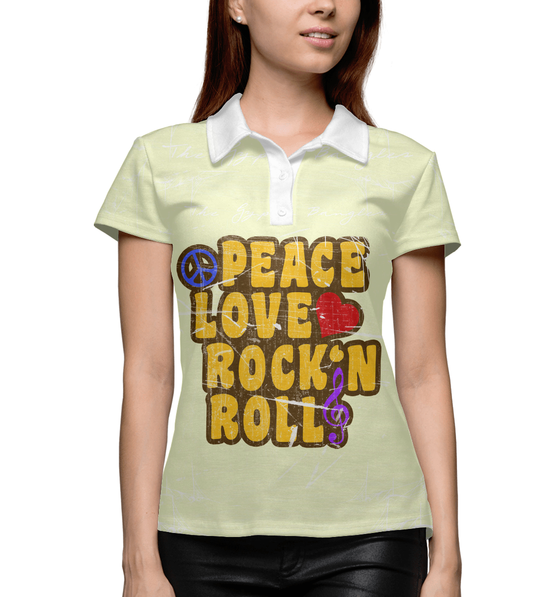 Купить Peace, Love, Rock*n roll, Printbar, Поло, APD-127416-pol-1