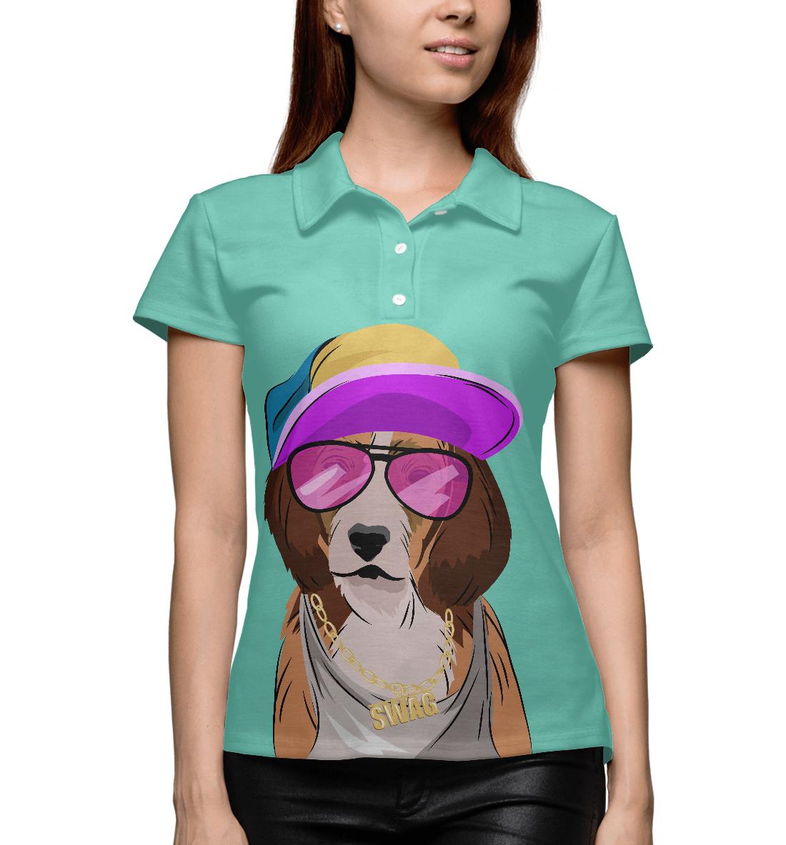 Купить Собака, одетая в стиле хип-хоп, Printbar, Поло, HIP-599382-pol-1