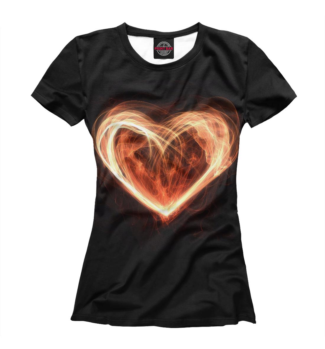 Купить Огненное сердце на чёрном фоне, Printbar, Футболки, SRD-494101-fut-1