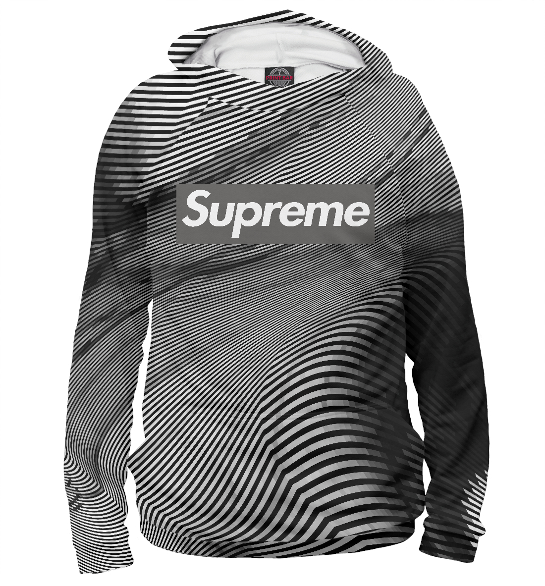 Купить Supreme Grey Abstract, Printbar, Худи, SPR-884027-hud-2