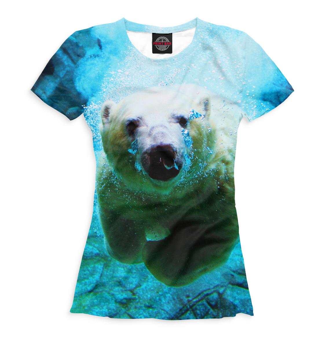 Купить Белый медведь под водой, Printbar, Футболки, MED-880953-fut-1