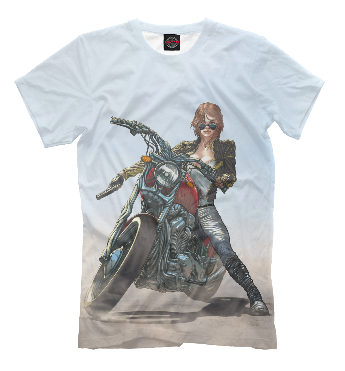 Купить Девушка на мотоцикле, Printbar, Футболки, MTR-179002-fut-2