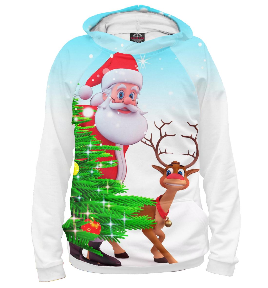 Купить Дед Мороз и Олень, Printbar, Худи, NOV-590105-hud-1
