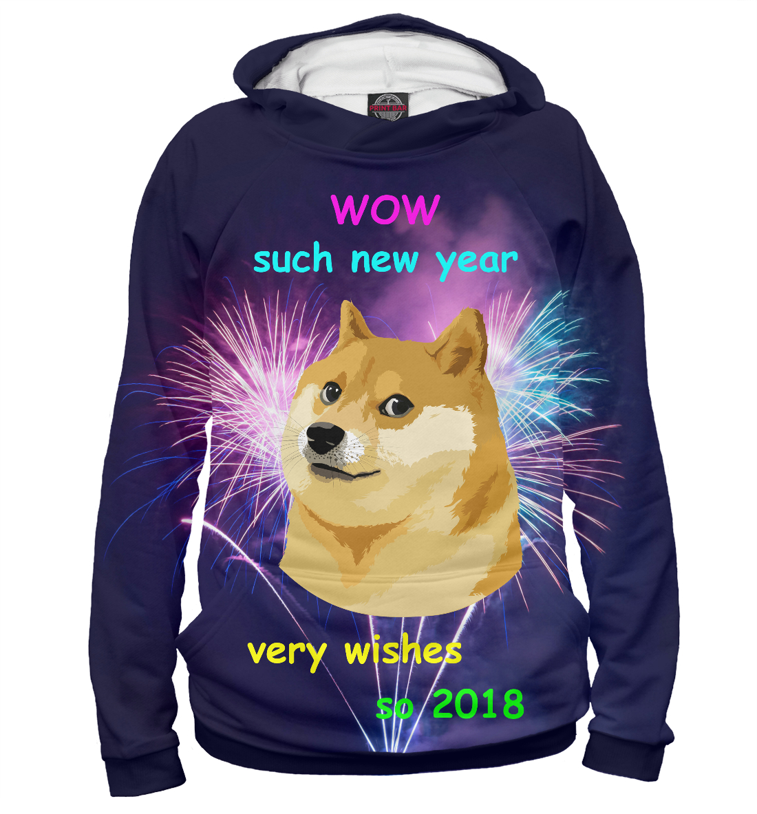 Купить WOW such new year so 2018, Printbar, Худи, NOV-110182-hud-2