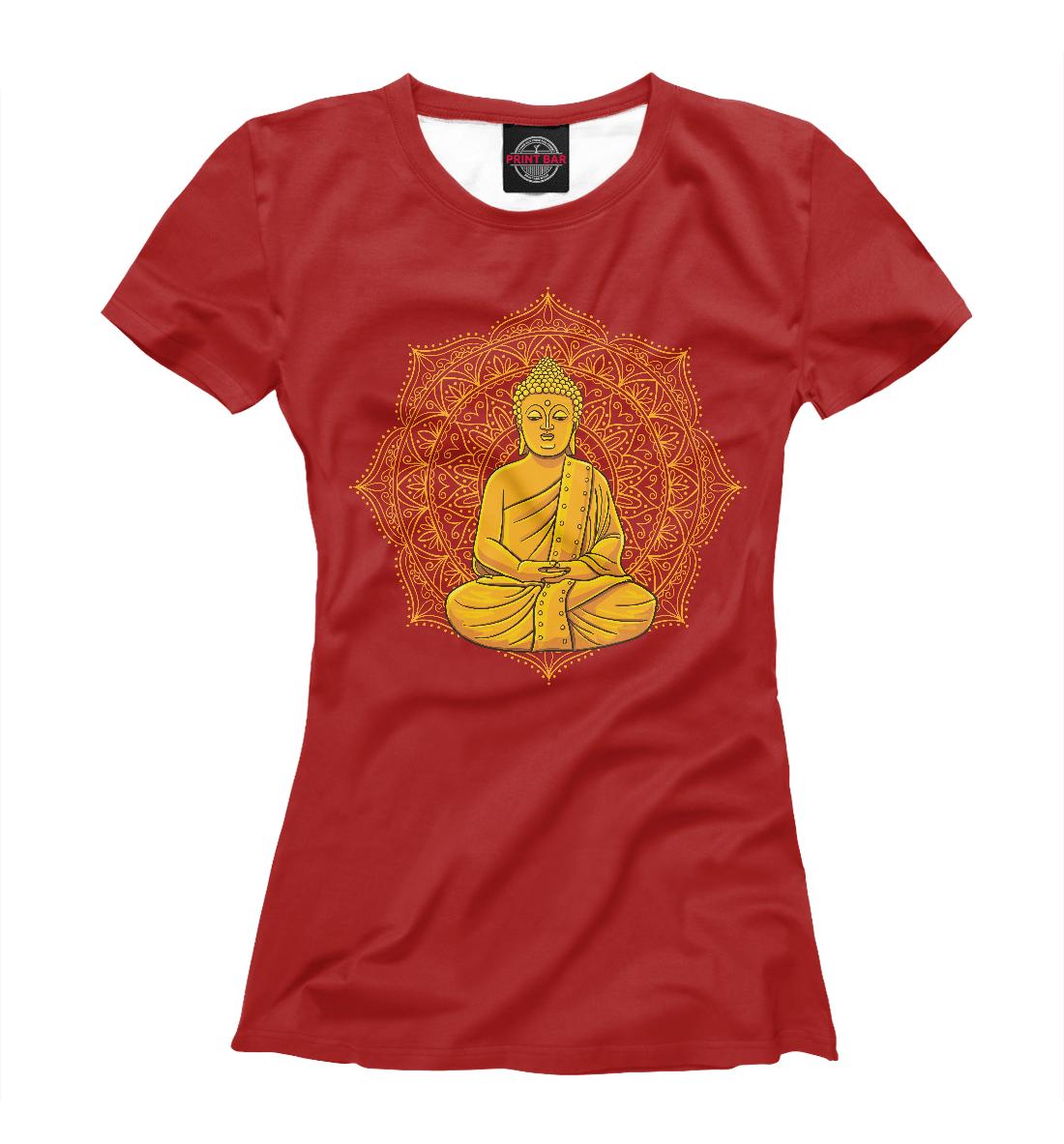 Купить Золотой Будда на фоне мандалы, Printbar, Футболки, PSY-560814-fut-1