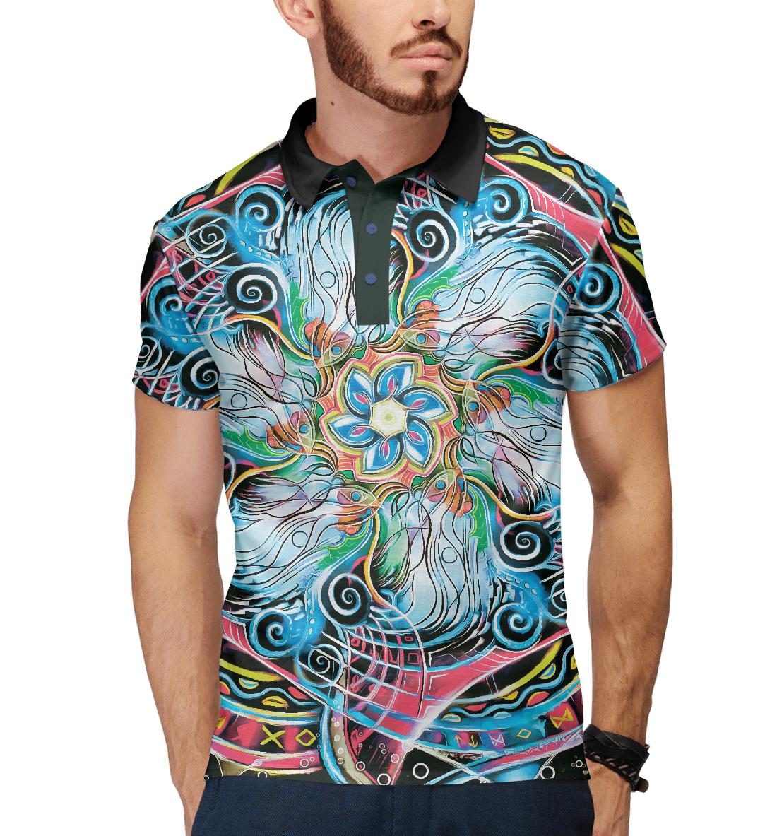 Купить Мандала Странные Цветные Руны, Printbar, Поло, APD-506067-pol-2