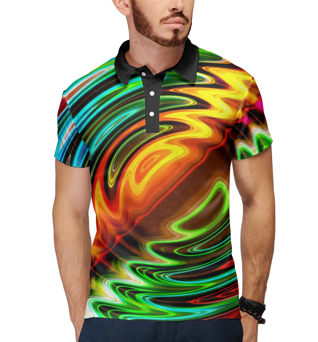 Купить Цветные волны, Printbar, Поло, ABS-730509-pol-2