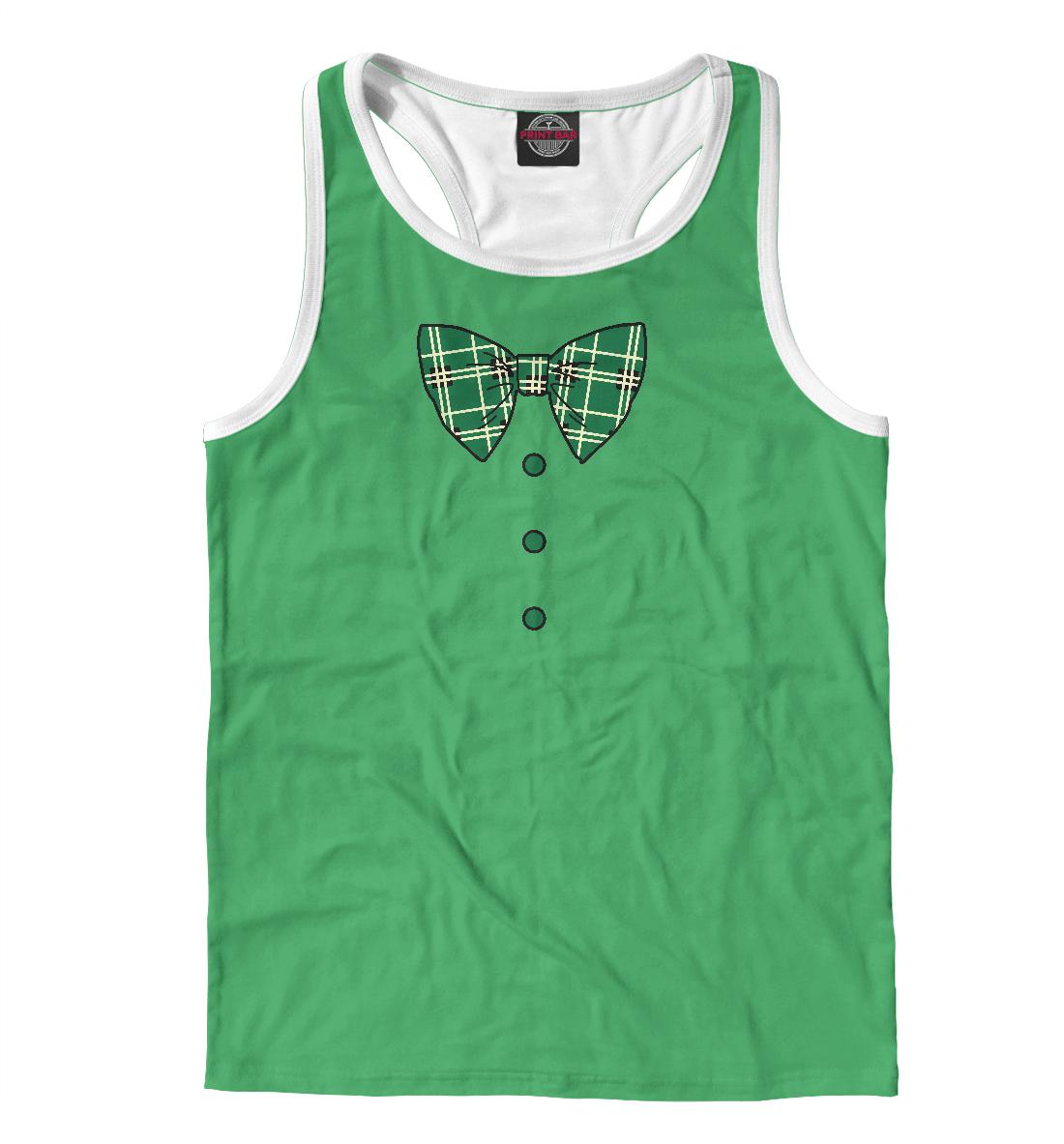 Купить Зеленый галстук бабочка в клетку, Printbar, Майки борцовки, CST-438975-mayb-2