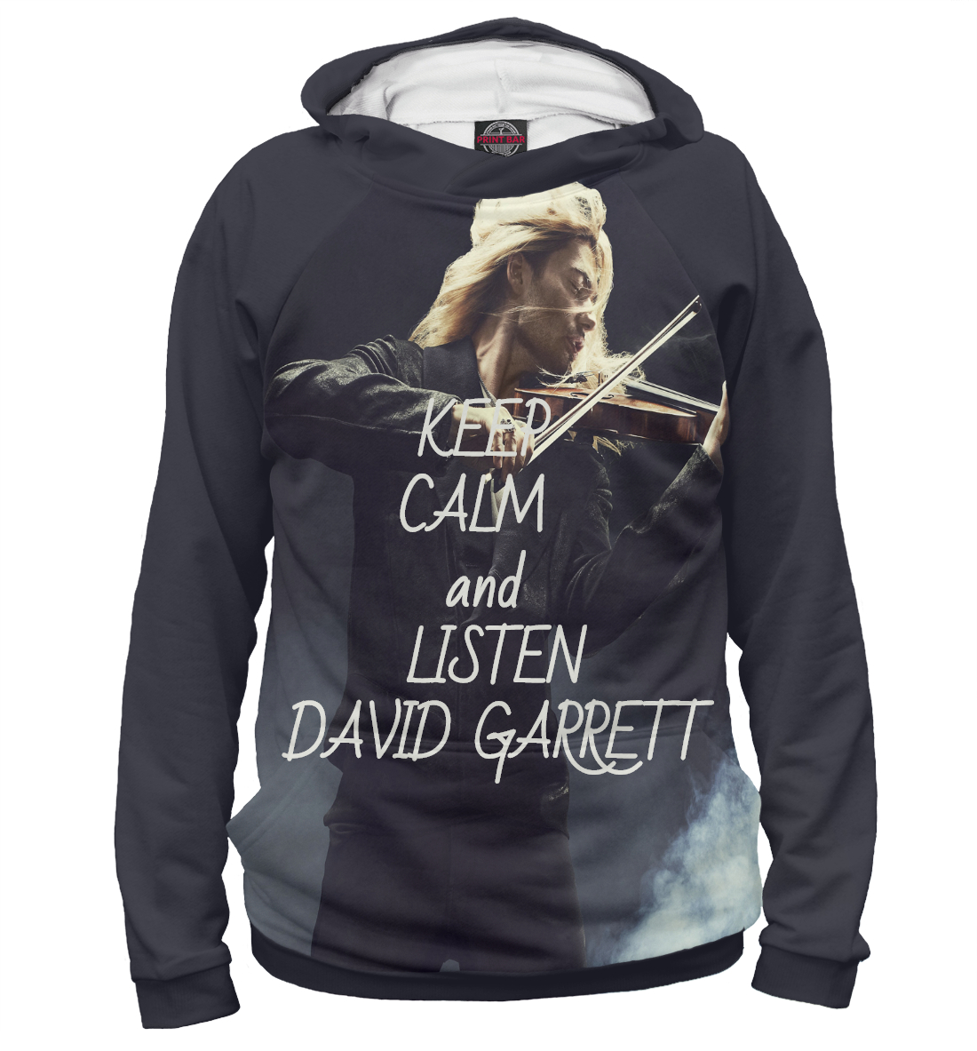 Купить Keep calm and listen David Garrett, Printbar, Худи, MZK-183982-hud-1