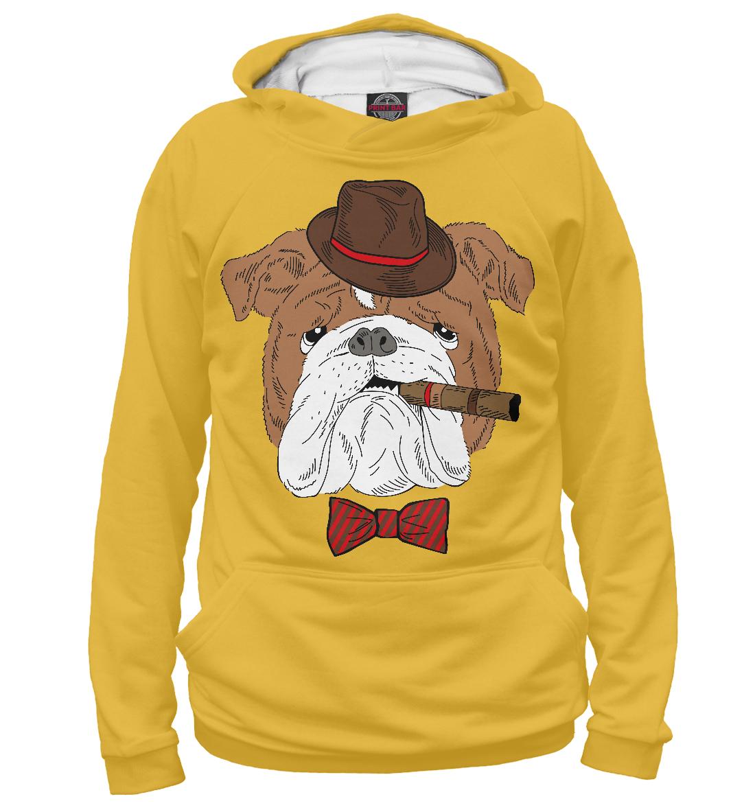 Купить Английский бульдог с сигарой, Printbar, Худи, DOG-463268-hud-2