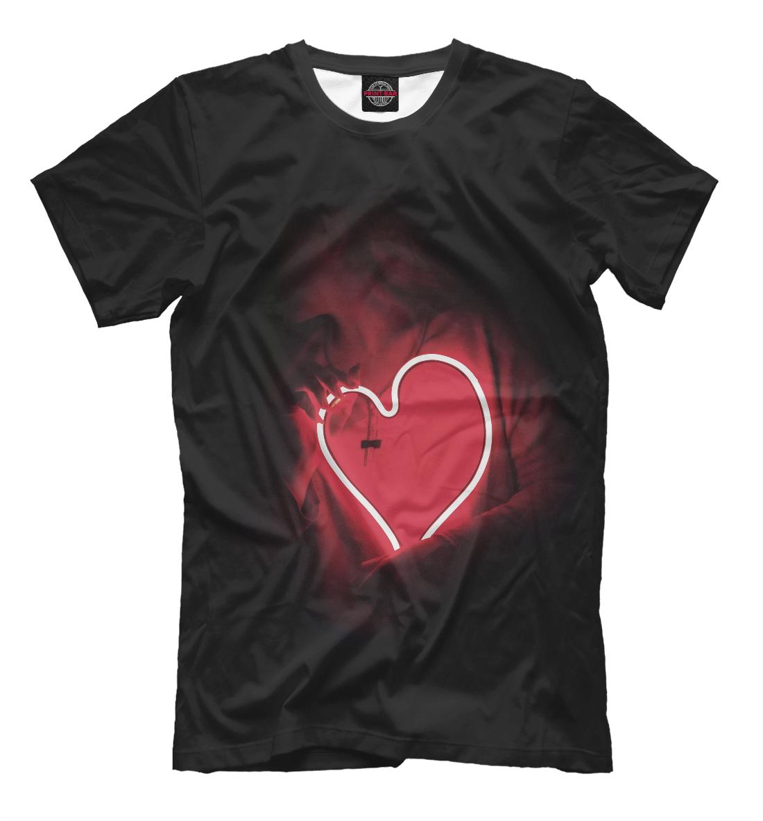 Купить Девушка с неоновым сердцем, Printbar, Футболки, SRD-833167-fut-2