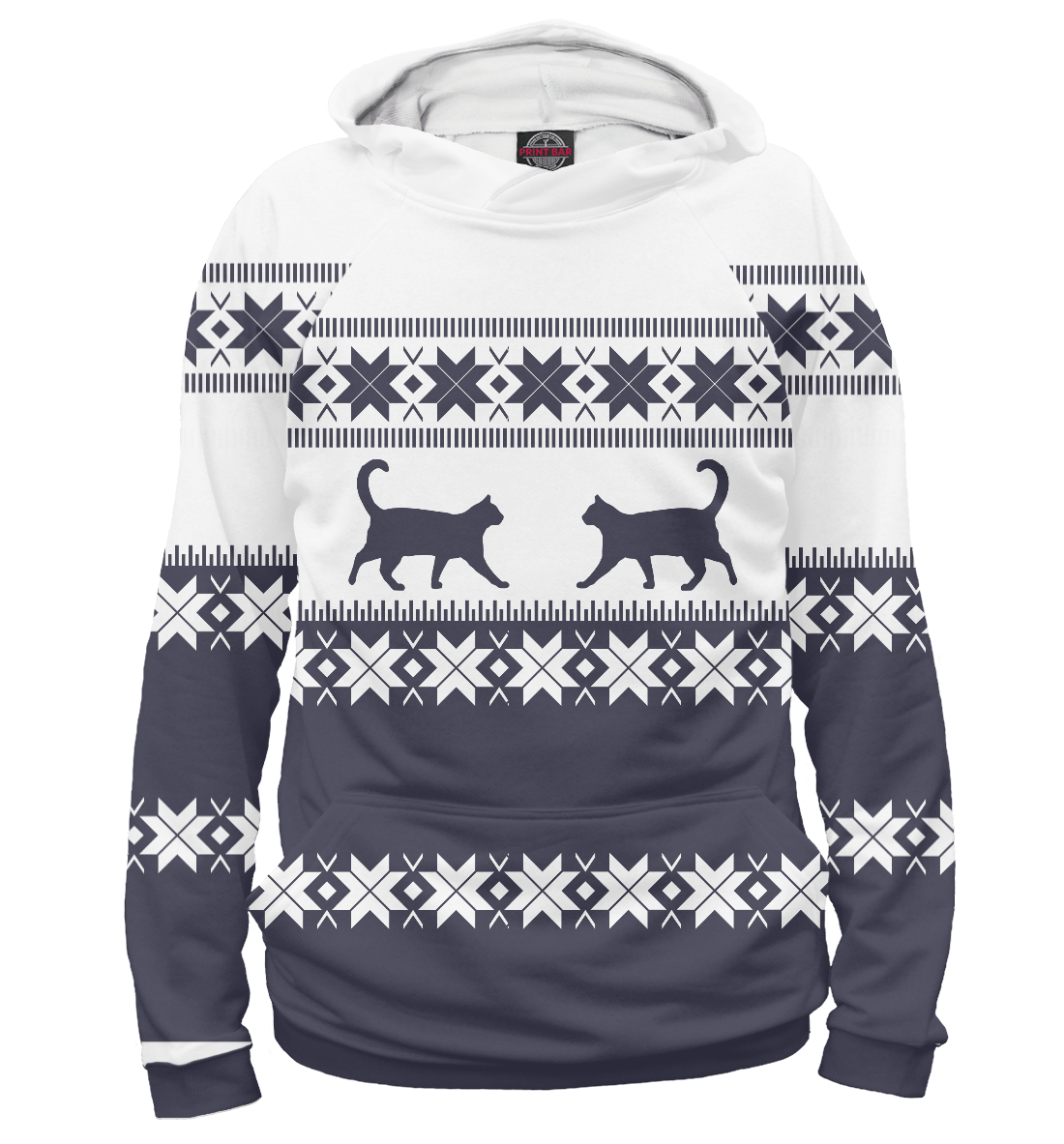 Купить Зимний свитер с котиками, Printbar, Худи, CAT-235588-hud-2