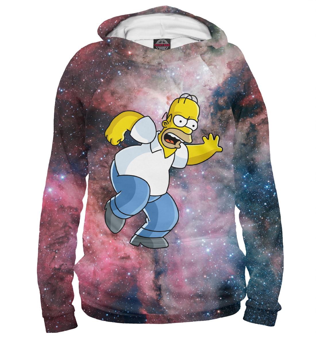Купить Бегущий Гомер в космосе, Printbar, Худи, SIM-357932-hud-2