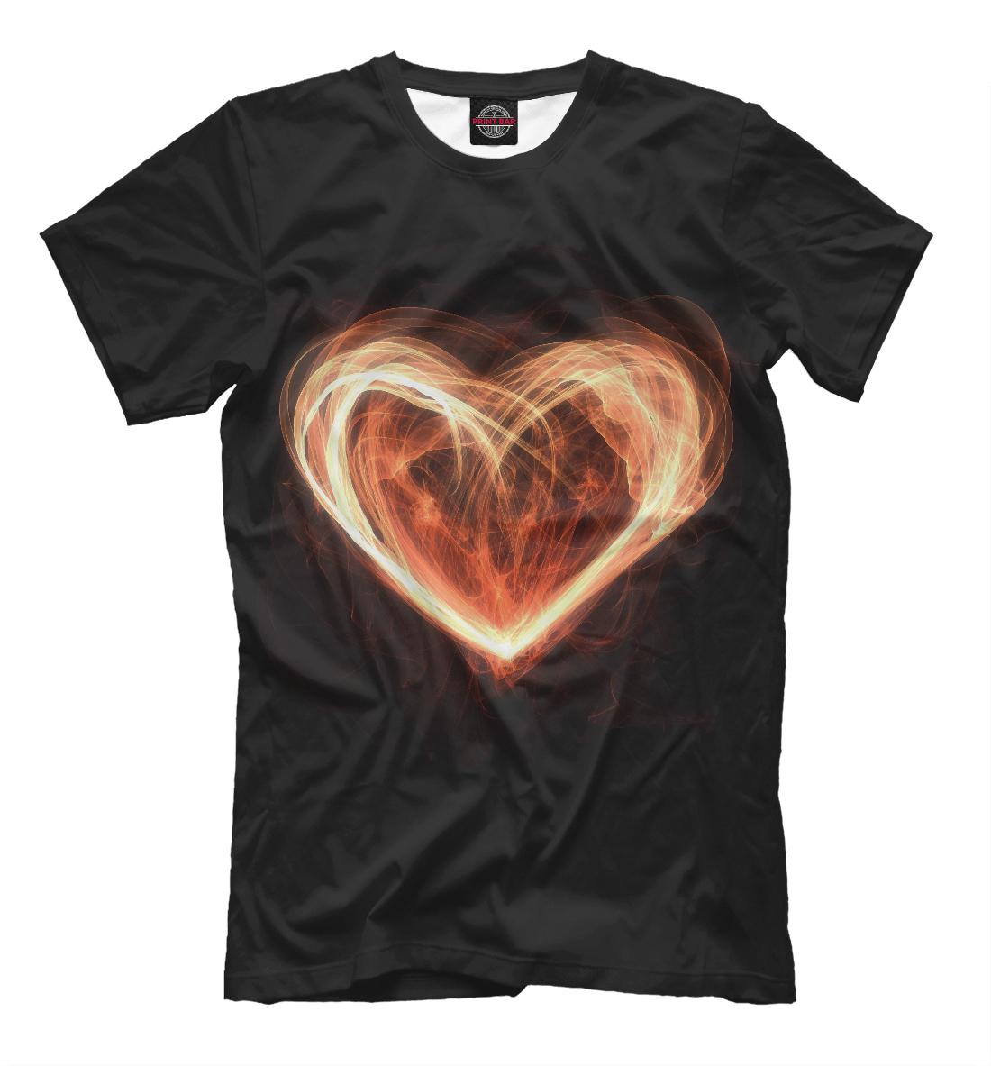 Купить Огненное сердце на чёрном фоне, Printbar, Футболки, SRD-494101-fut-2