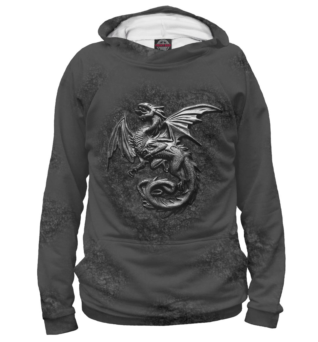 Купить Стальной Дракон на скале., Printbar, Худи, DRA-990983-hud-1