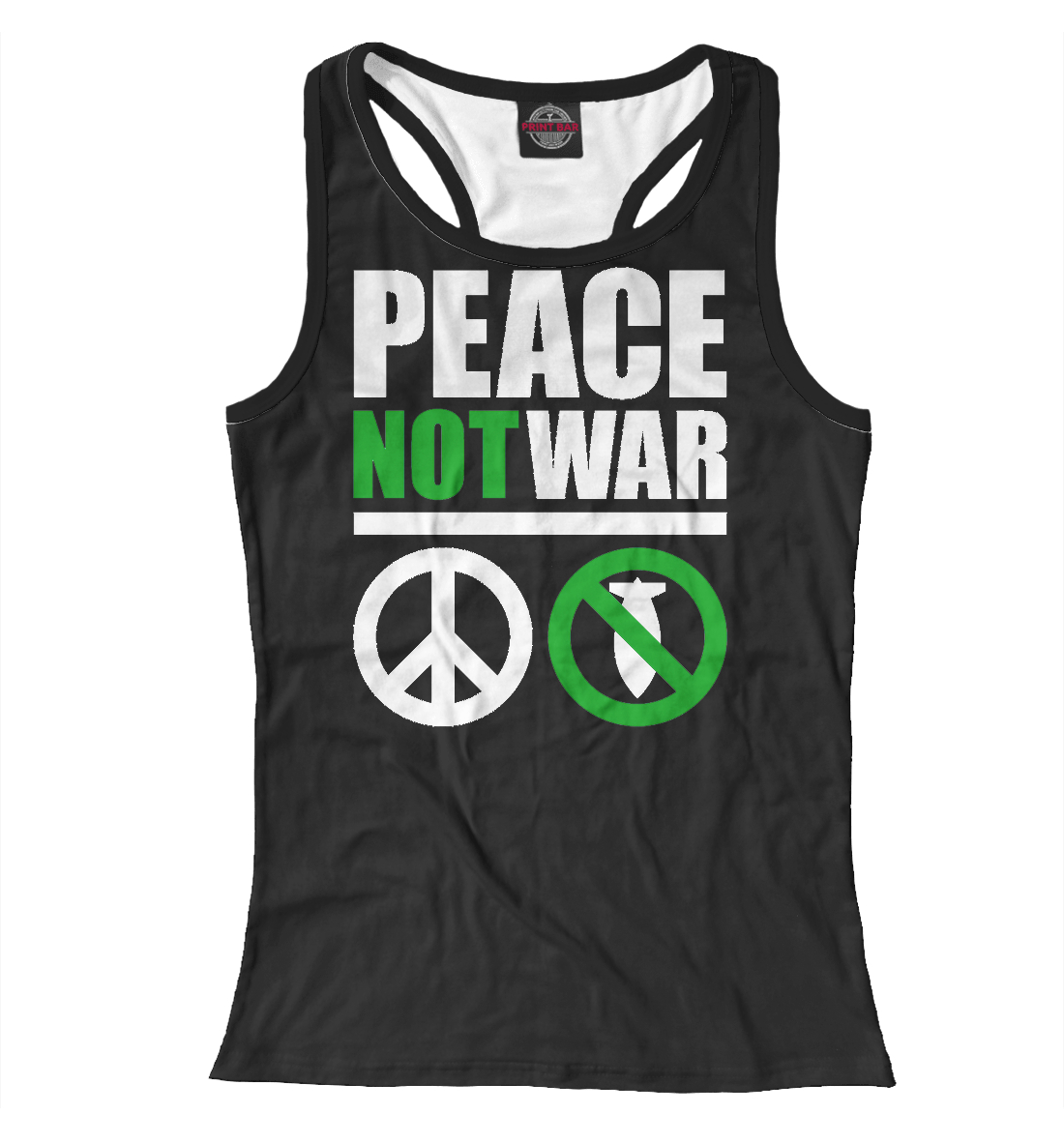 Купить Peace not war white, Printbar, Майки борцовки, NDP-731316-mayb-1