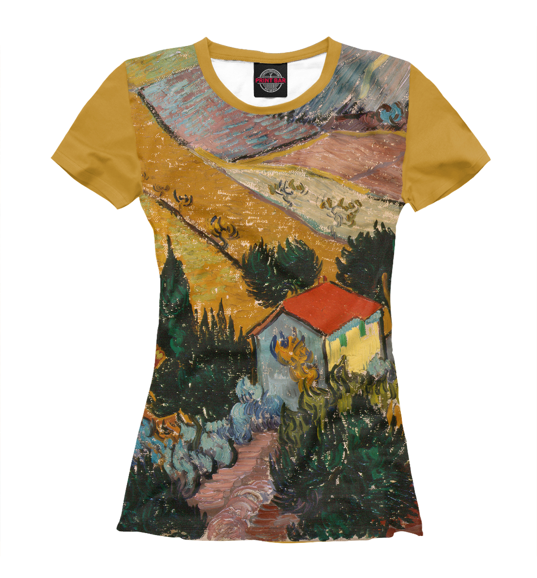 Купить Винсент ван Гог. Пейзаж с домом и пахарь, Printbar, Футболки, GHI-200148-fut-1