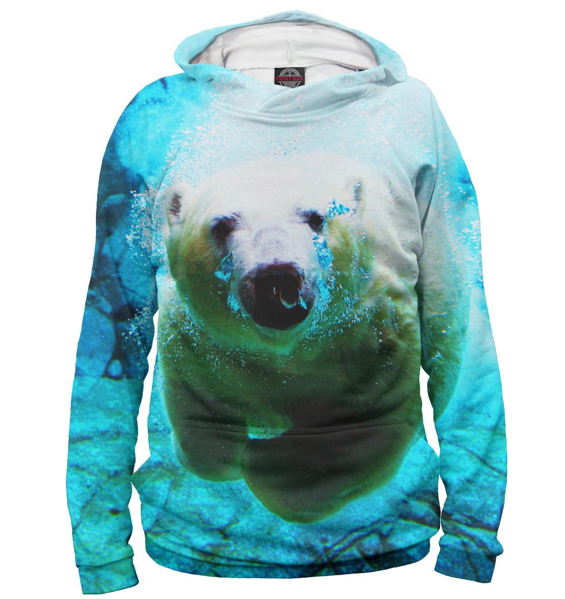 Купить Белый медведь под водой, Printbar, Худи, MED-880953-hud-1