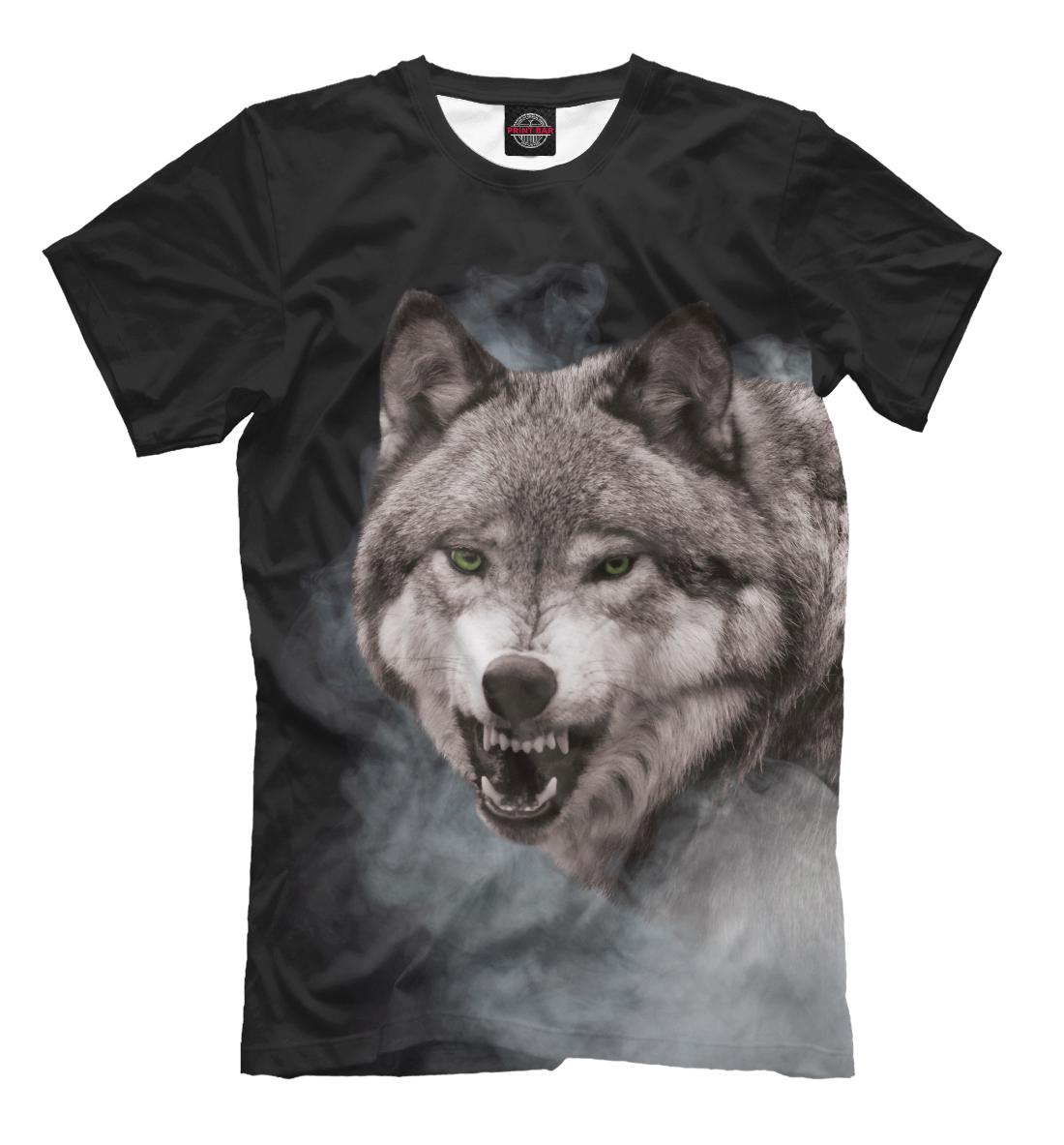 Купить Серый Волк в дымке, Printbar, Футболки, VLF-808679-fut-2
