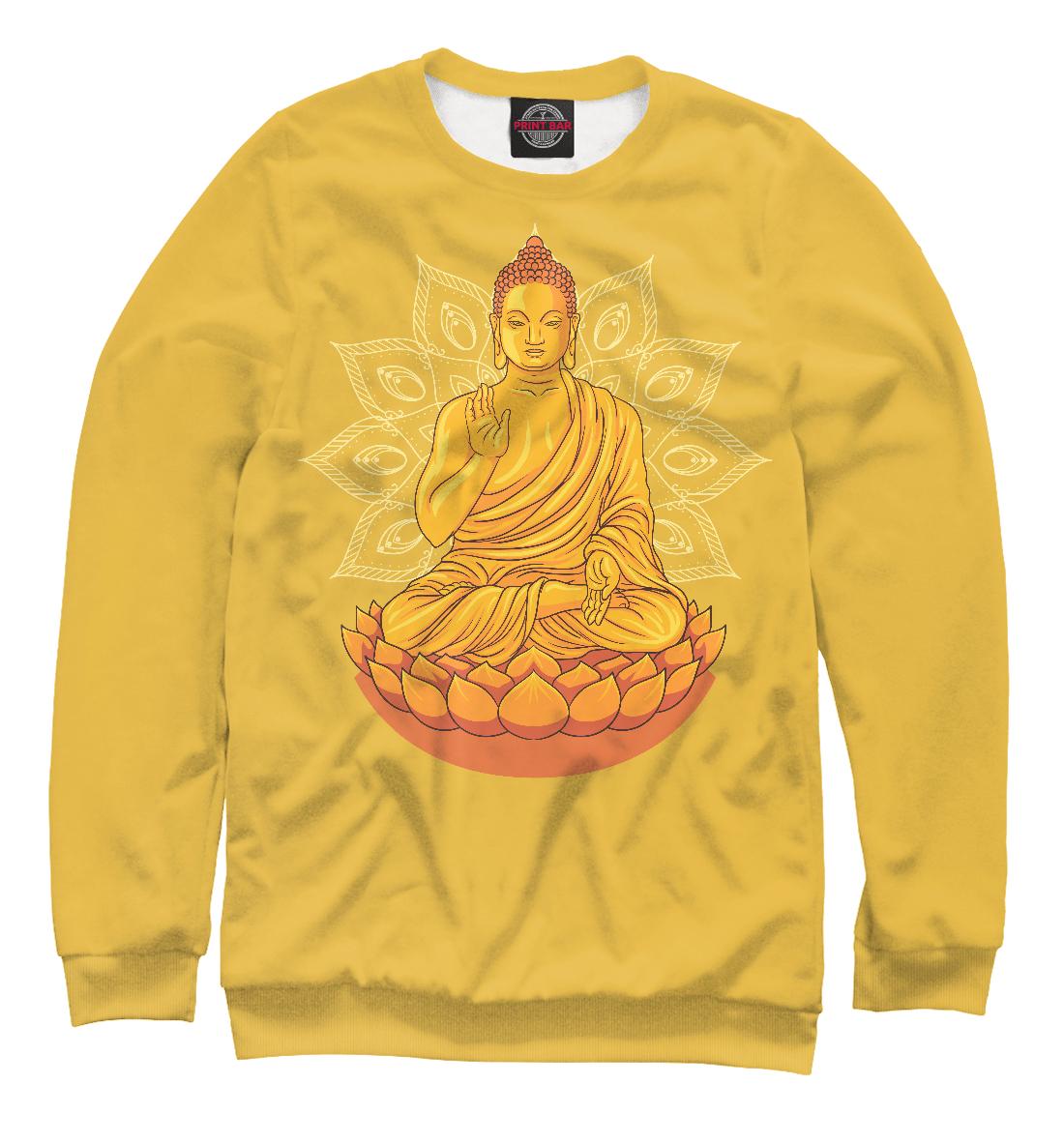 Купить Золотой Будда с мандалой и лотосом, Printbar, Свитшоты, PSY-836428-swi-1