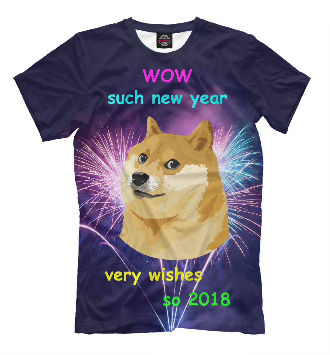 Купить WOW such new year so 2018, Printbar, Футболки, NOV-110182-fut-2