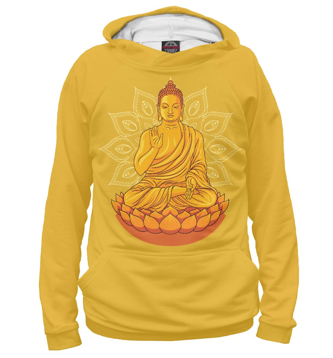 Купить Золотой Будда с мандалой и лотосом, Printbar, Худи, PSY-836428-hud-2