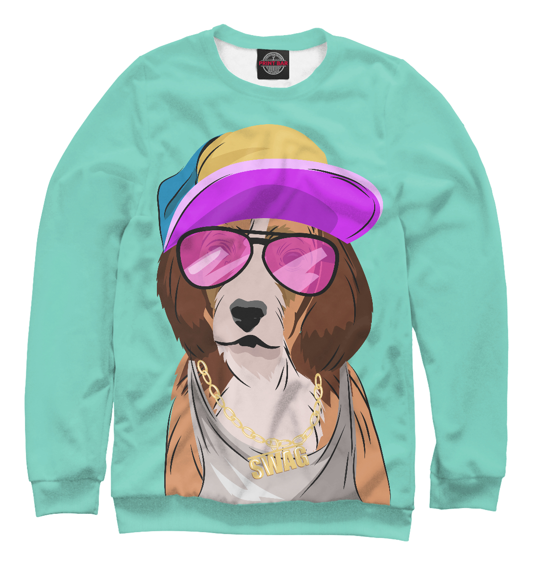 Купить Собака, одетая в стиле хип-хоп, Printbar, Свитшоты, HIP-599382-swi-2