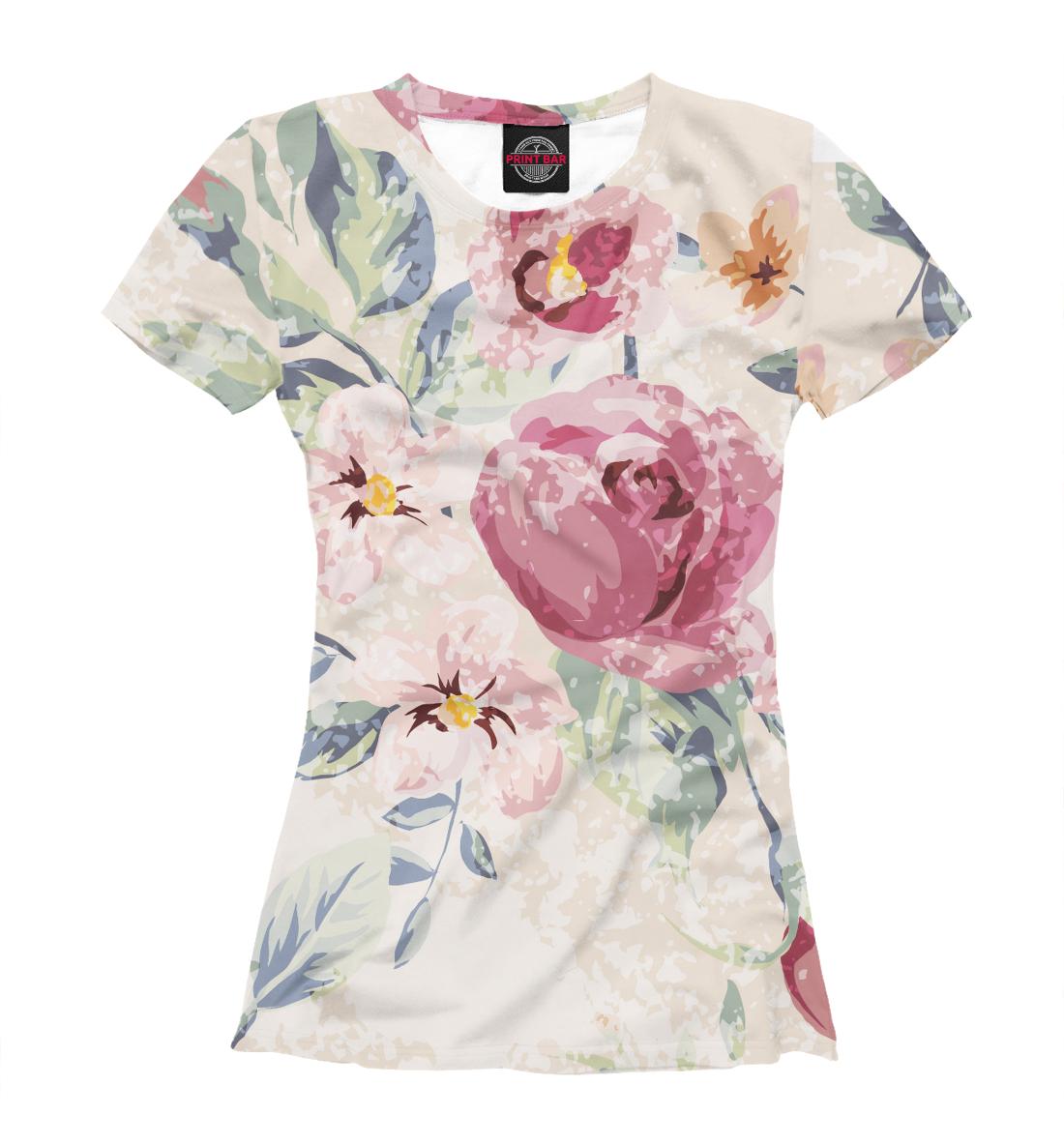 Купить Крупные цветы, Printbar, Футболки, CVE-423206-fut-1
