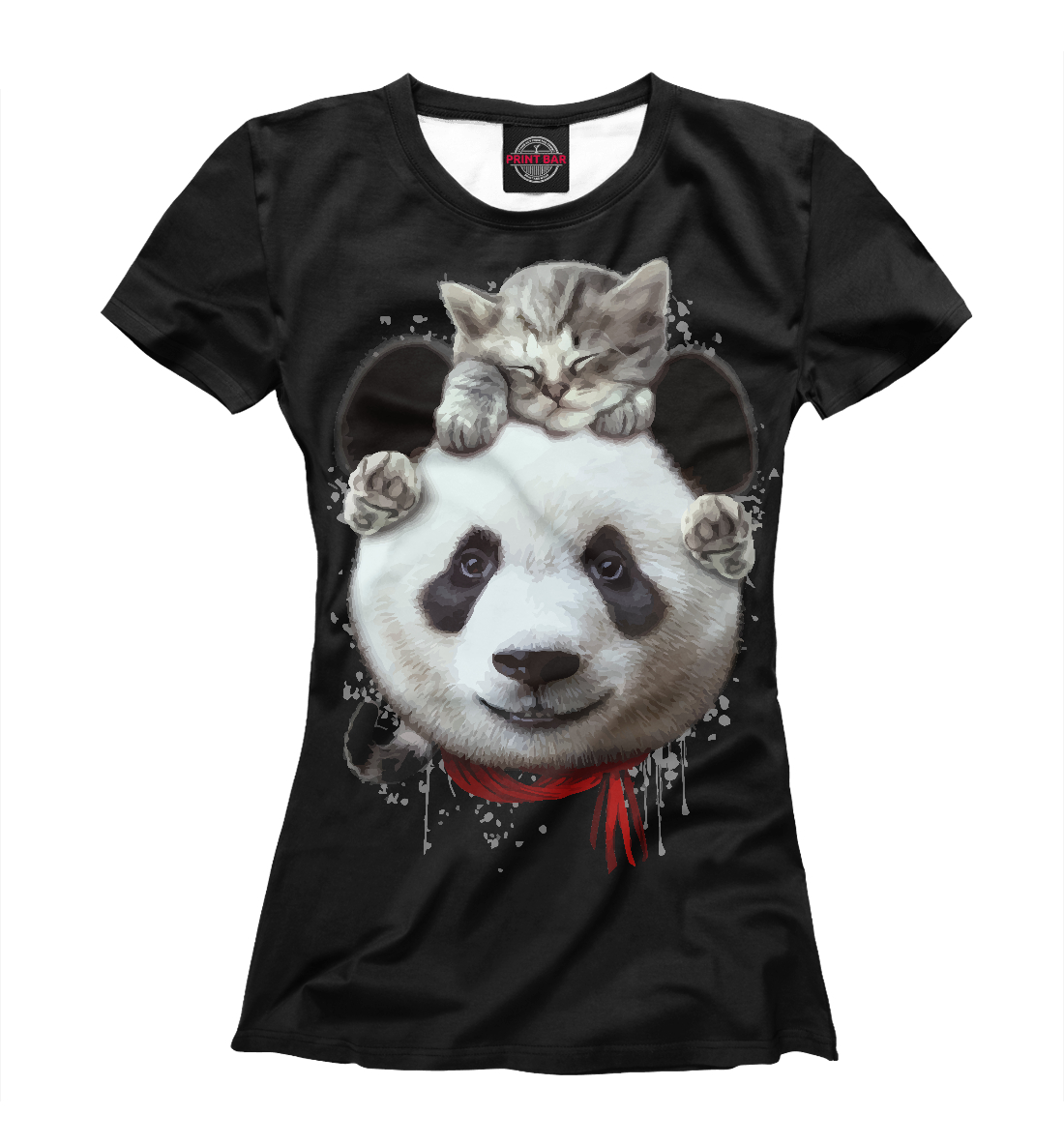 Купить Панда и котенок, Printbar, Футболки, PAN-136564-fut-1