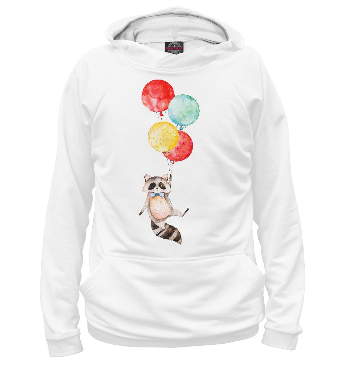 Купить Енот на воздушном шарике, Printbar, Худи, ENT-799912-hud-2