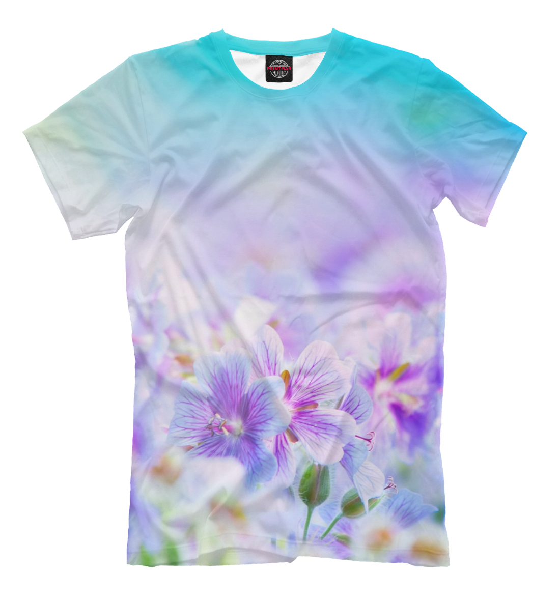 Купить Сиреневые цветочки, Printbar, Футболки, CVE-837565-fut-2