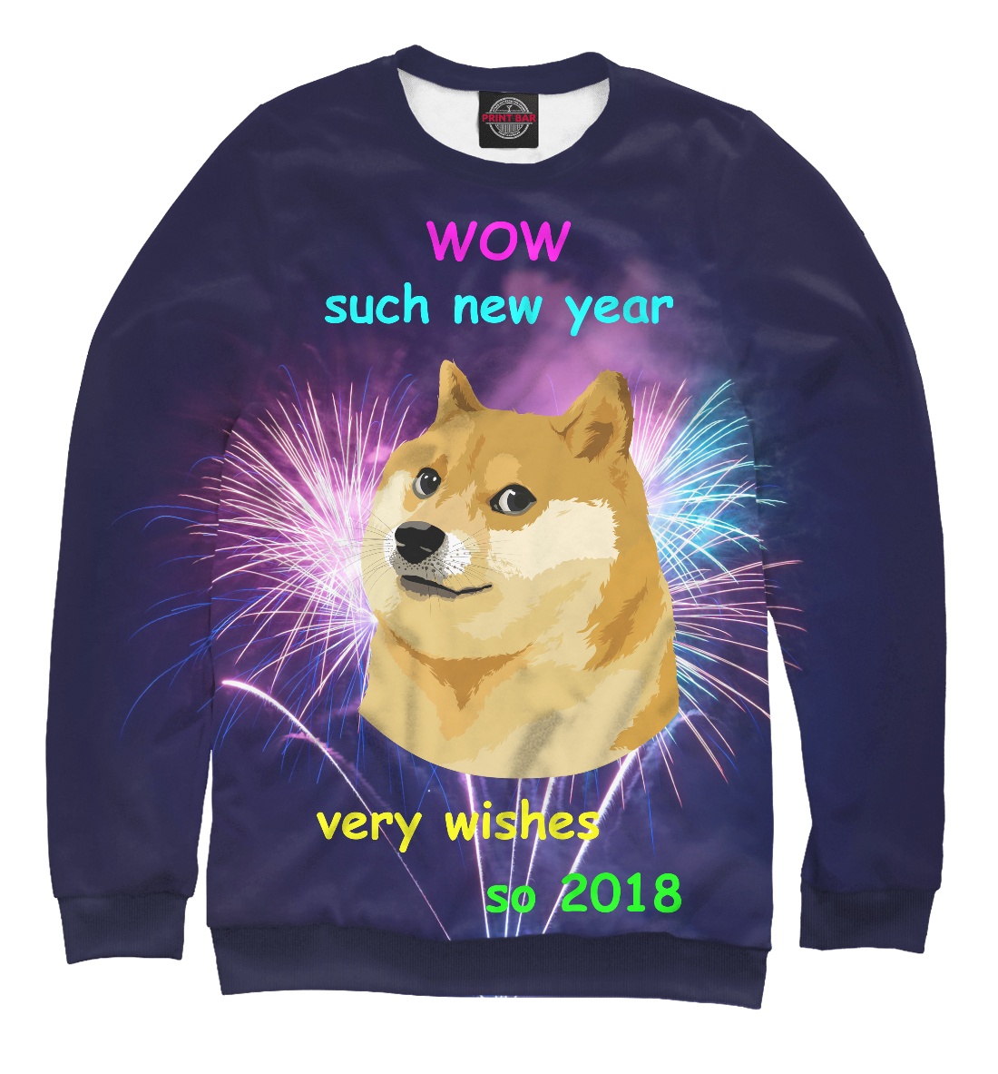 Купить WOW such new year so 2018, Printbar, Свитшоты, NOV-110182-swi-1