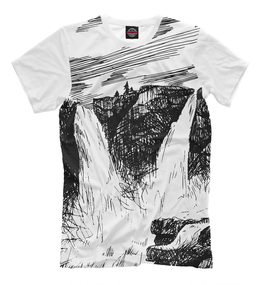 Купить Двойной водопад в горах, Printbar, Футболки, PEY-534212-fut-2