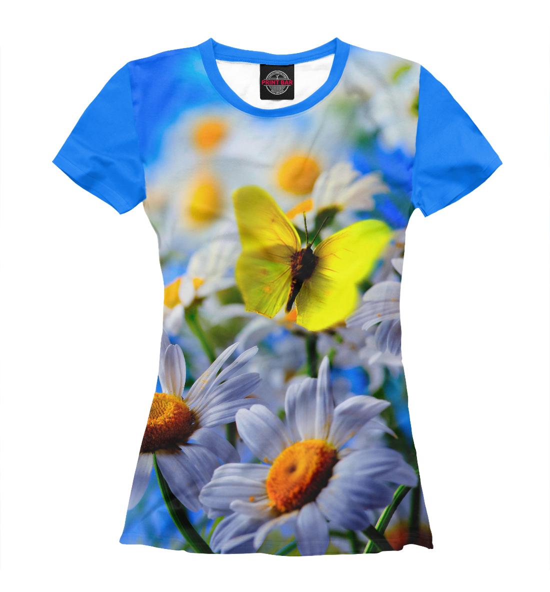 Купить Цветы и бабочка, Printbar, Футболки, CVE-224279-fut-1