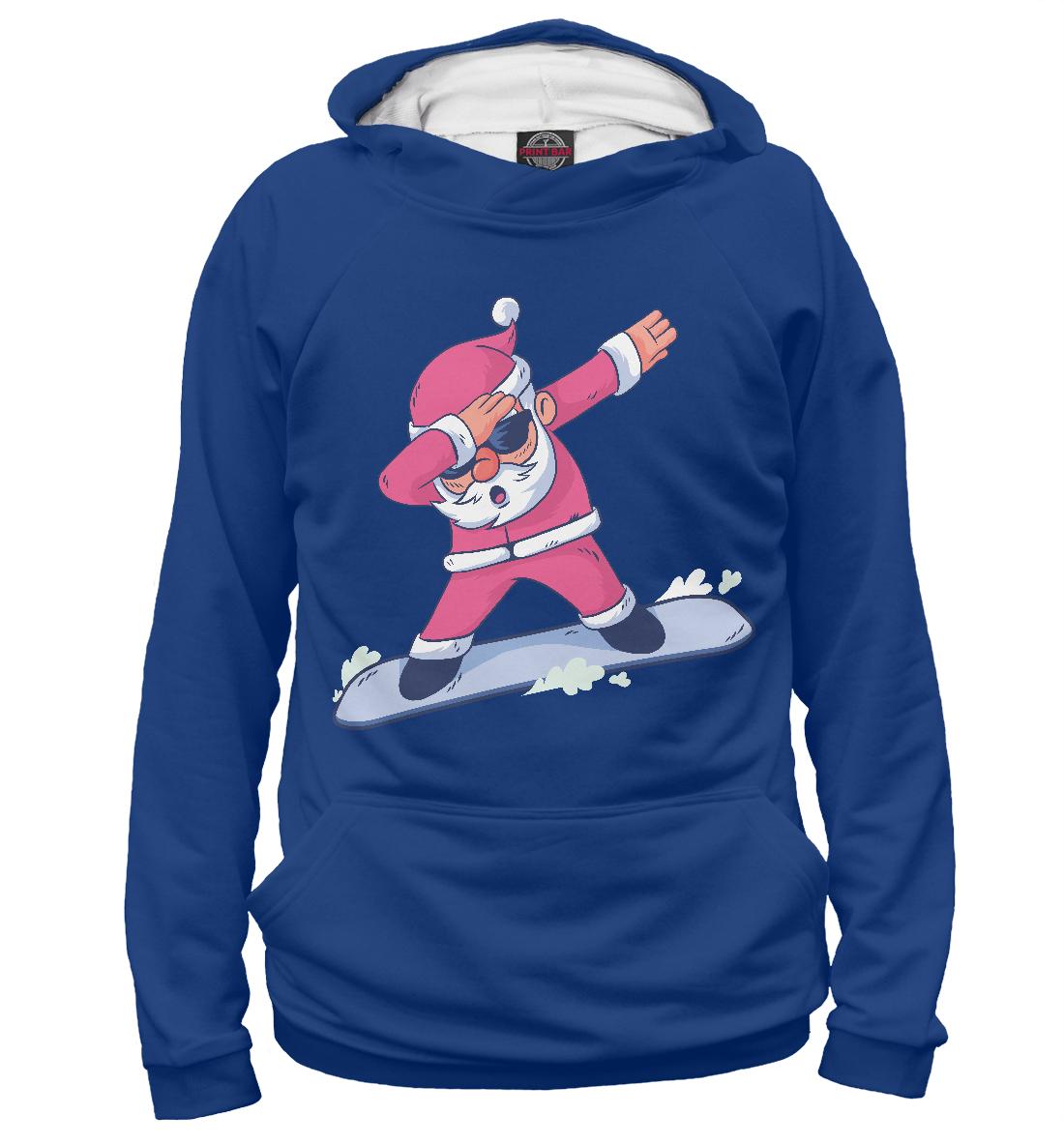 Купить Дед Мороз на Сноуборде, Printbar, Худи, DMZ-357951-hud-1