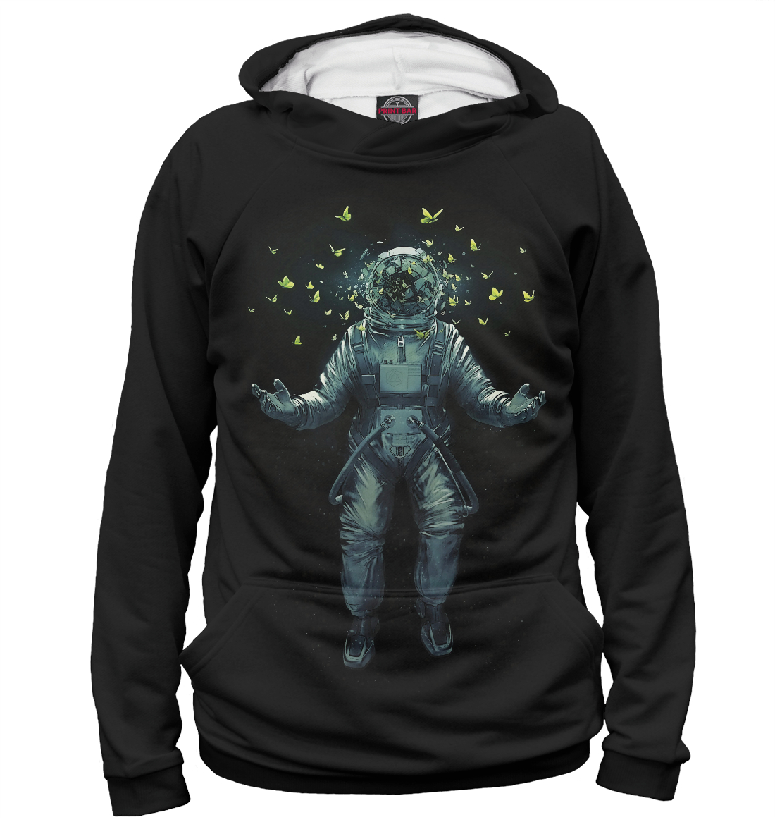 Купить Космонавт с бабочками, Printbar, Худи, APD-675811-hud-1