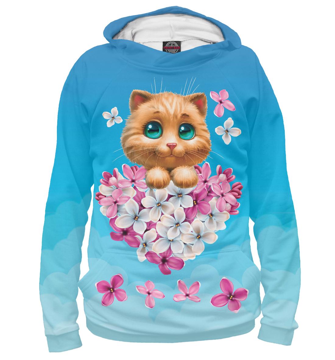 Купить Котенок и сердечко из цветов, Printbar, Худи, CAT-225513-hud-2