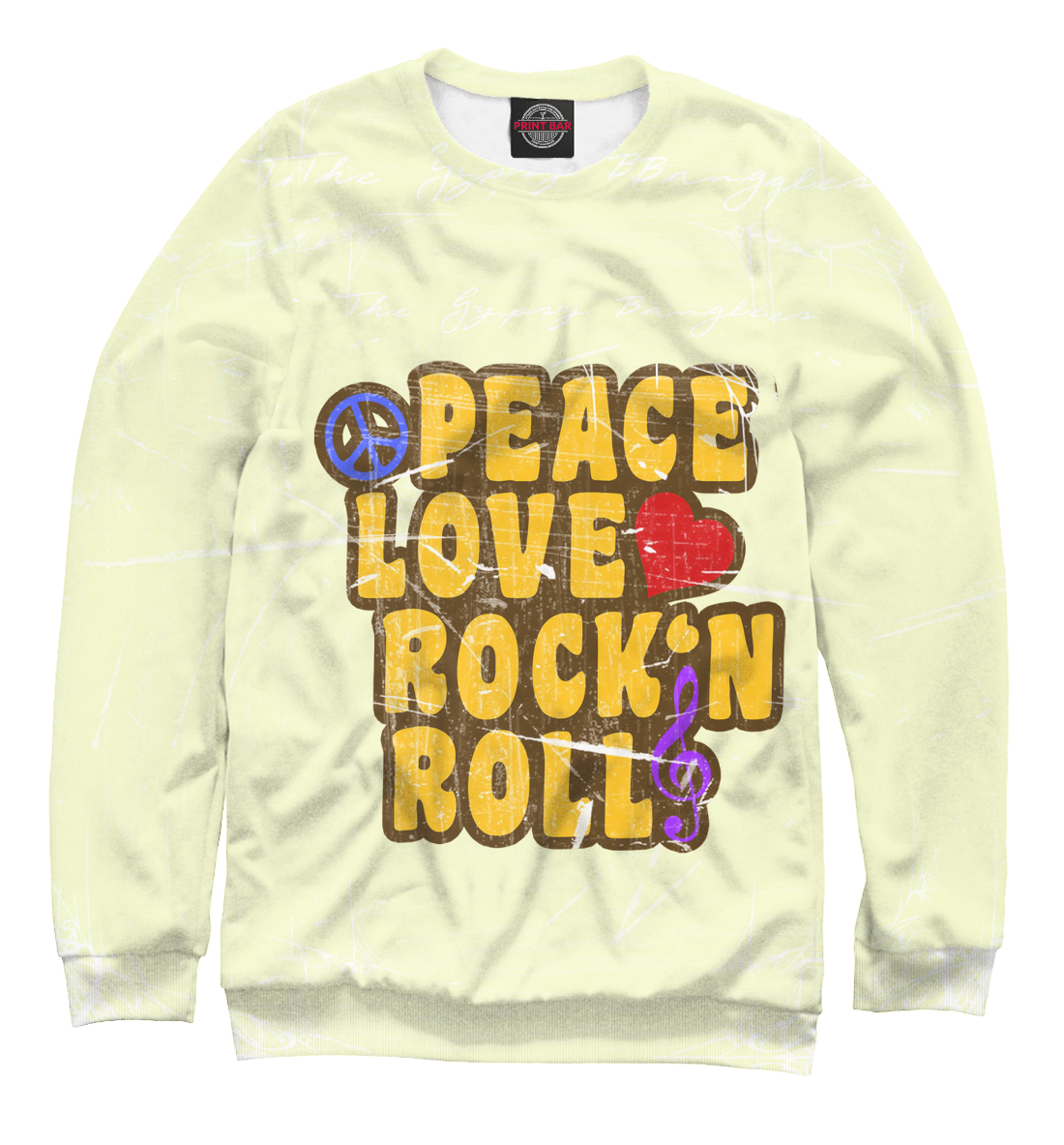 Купить Peace, Love, Rock*n roll, Printbar, Свитшоты, APD-127416-swi-2