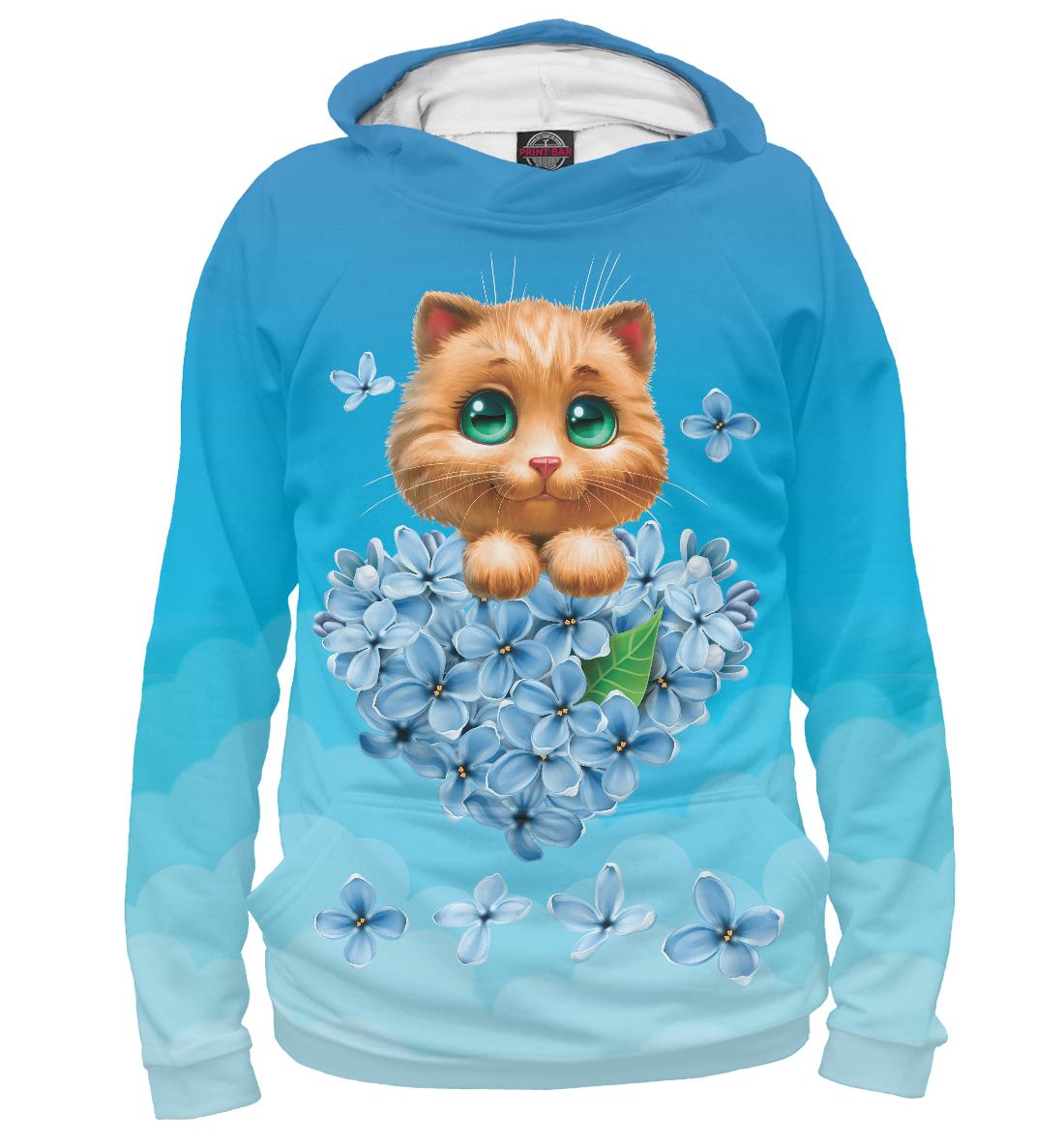 Купить Котенок и сердце из цветов, Printbar, Худи, CAT-880225-hud-2