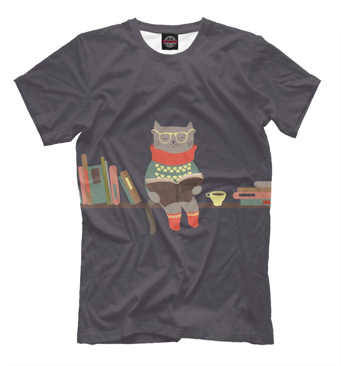 Кот читатель, Printbar, Футболки, CAT-816695-fut-2  - купить со скидкой